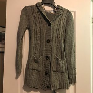 Warm button up hooded sweater